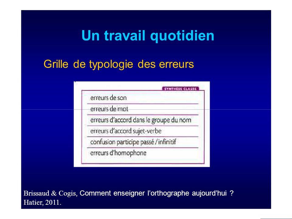 Un travail quotidien Grille de typologie des erreurs Brissaud & Cogis, Comment enseigner l'orthographe aujourd'hui .