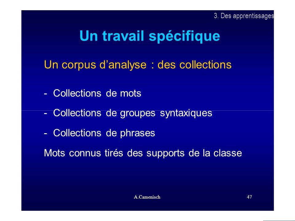 3. Des apprentissages Un travail spécifique Un corpus d'analyse : des collections - Collections de mots - Collections de groupes syntaxiques - Collect
