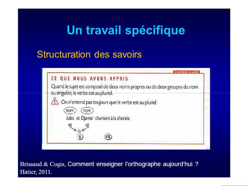 Un travail spécifique Structuration des savoirs Brissaud & Cogis, Comment enseigner l'orthographe aujourd'hui .