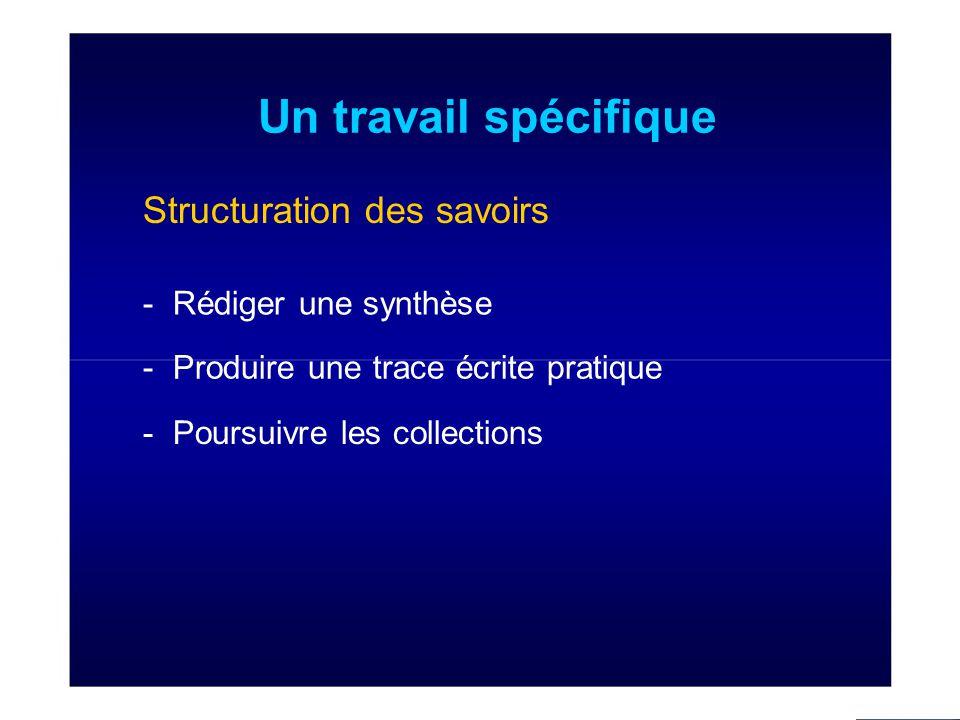Un travail spécifique Structuration des savoirs - Rédiger une synthèse - Produire une trace écrite pratique - Poursuivre les collections