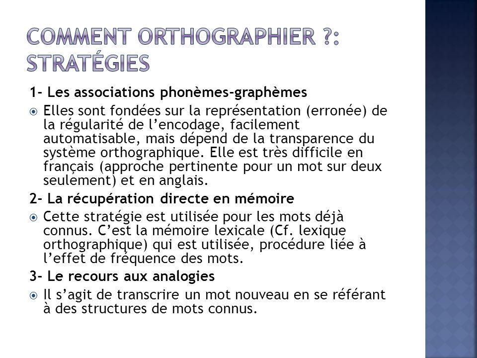 1- Les associations phonèmes-graphèmes  Elles sont fondées sur la représentation (erronée) de la régularité de l'encodage, facilement automatisable, mais dépend de la transparence du système orthographique.