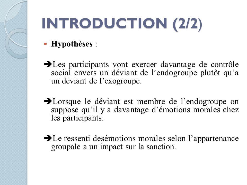 INTRODUCTION (2/2) Hypothèses :  Les participants vont exercer davantage de contrôle social envers un déviant de l'endogroupe plutôt qu'a un déviant
