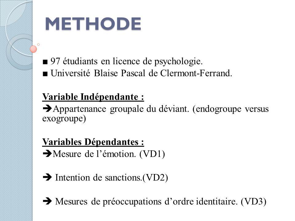 METHODE ■ 97 étudiants en licence de psychologie. ■ Université Blaise Pascal de Clermont-Ferrand. Variable Indépendante :  Appartenance groupale du d