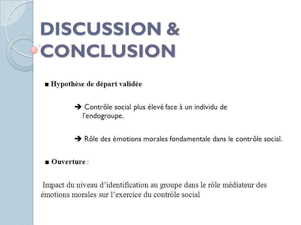 DISCUSSION & CONCLUSION ■ Hypothèse de départ validée  Contrôle social plus élevé face à un individu de l'endogroupe.  Rôle des émotions morales fon