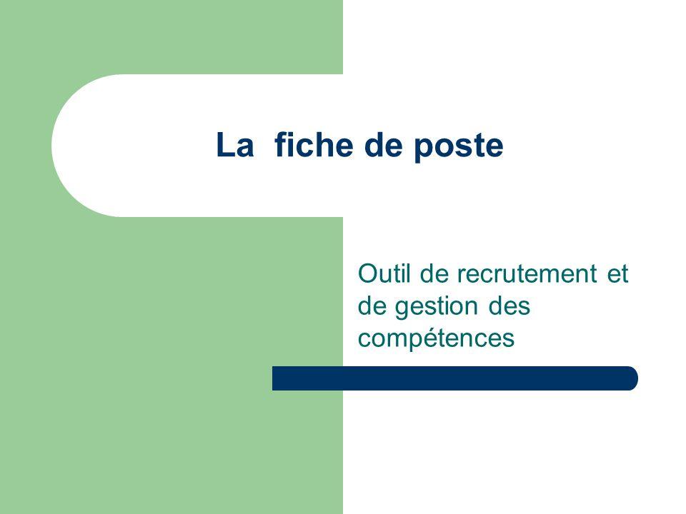 Finalités d'une fiche de poste C'est un outil de recrutement L'intérêt d'une fiche de poste est de décrire les éléments fondamentaux d'une situation professionnelle permettant à la personne faisant acte de candidature ainsi qu'au responsable hiérarchique, chargé de recruter, d'opérer le meilleur choix possible.