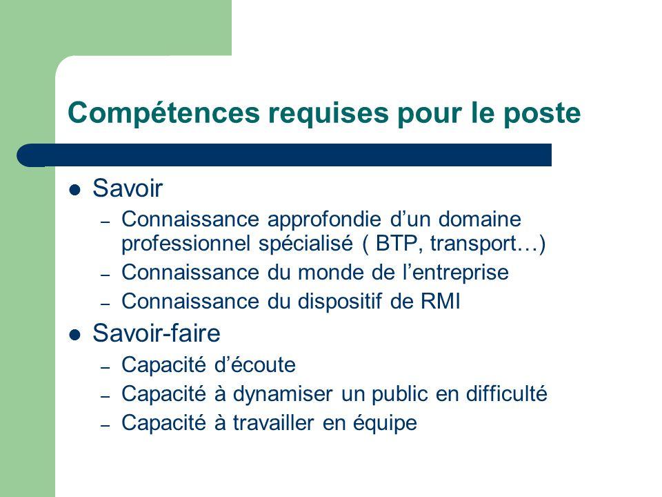 Compétences requises pour le poste Savoir – Connaissance approfondie d'un domaine professionnel spécialisé ( BTP, transport…) – Connaissance du monde