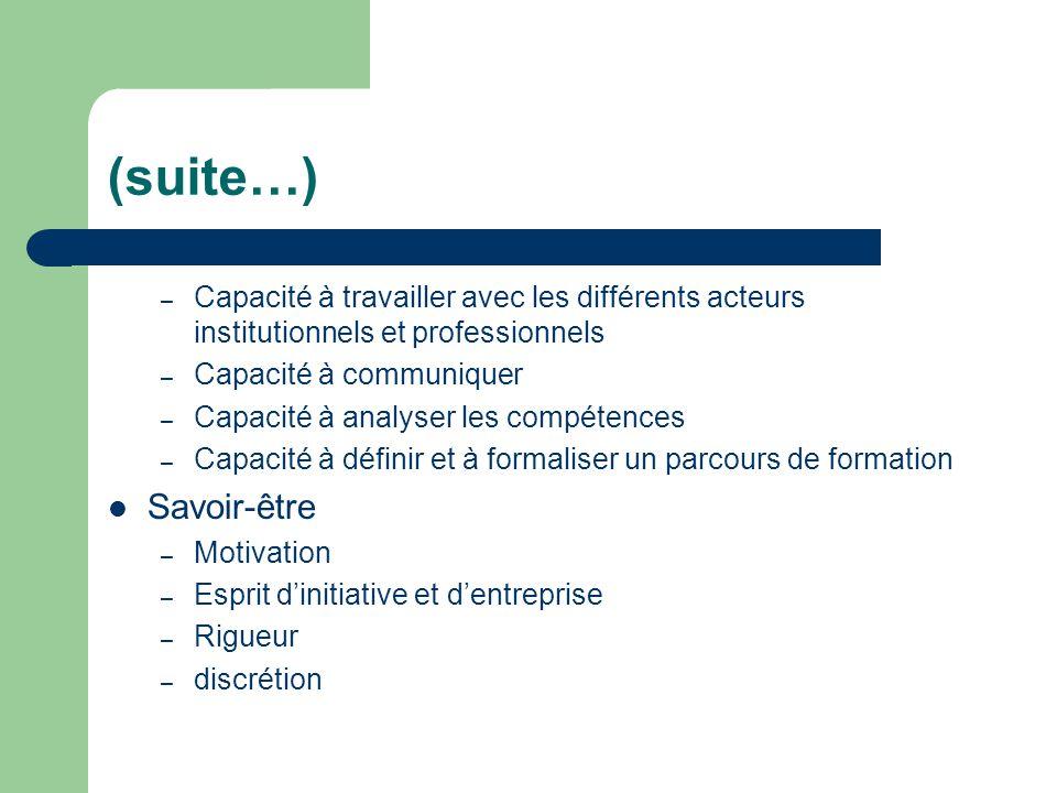 (suite…) – Capacité à travailler avec les différents acteurs institutionnels et professionnels – Capacité à communiquer – Capacité à analyser les comp