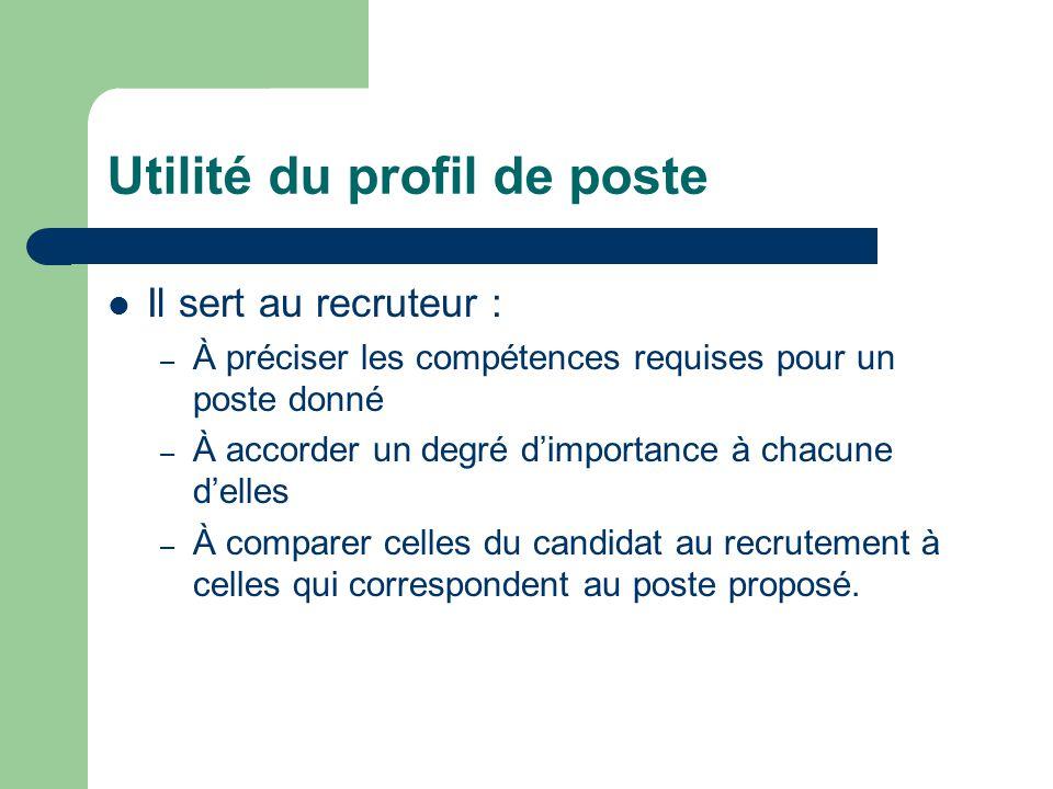Utilité du profil de poste Il sert au recruteur : – À préciser les compétences requises pour un poste donné – À accorder un degré d'importance à chacu