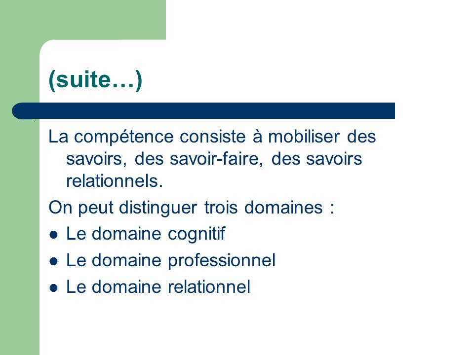 (suite…) La compétence consiste à mobiliser des savoirs, des savoir-faire, des savoirs relationnels. On peut distinguer trois domaines : Le domaine co