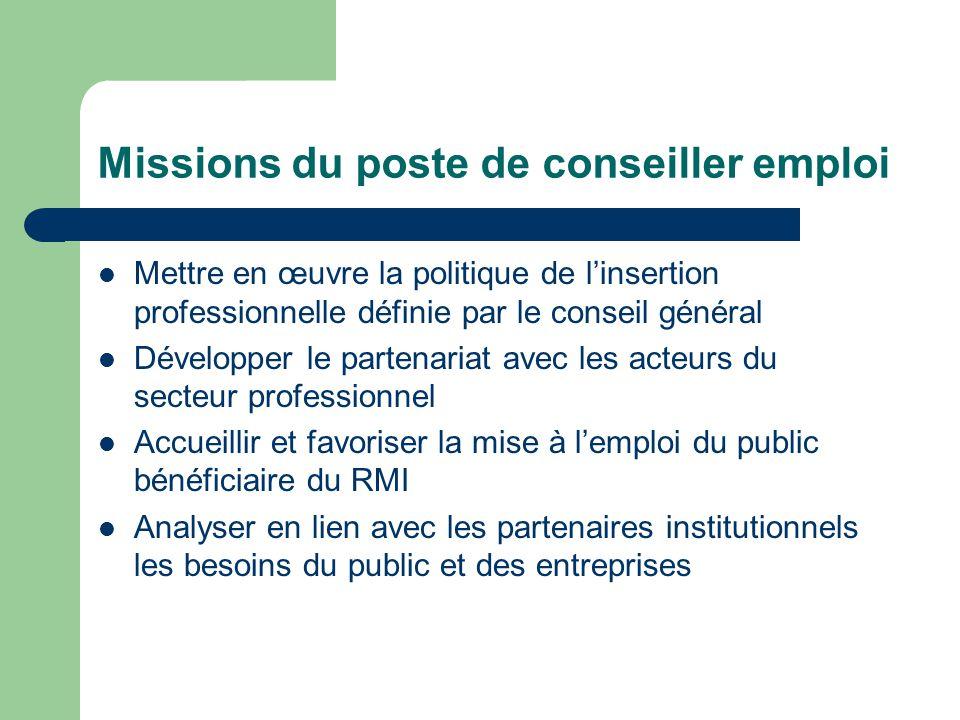 Missions du poste de conseiller emploi Mettre en œuvre la politique de l'insertion professionnelle définie par le conseil général Développer le parten