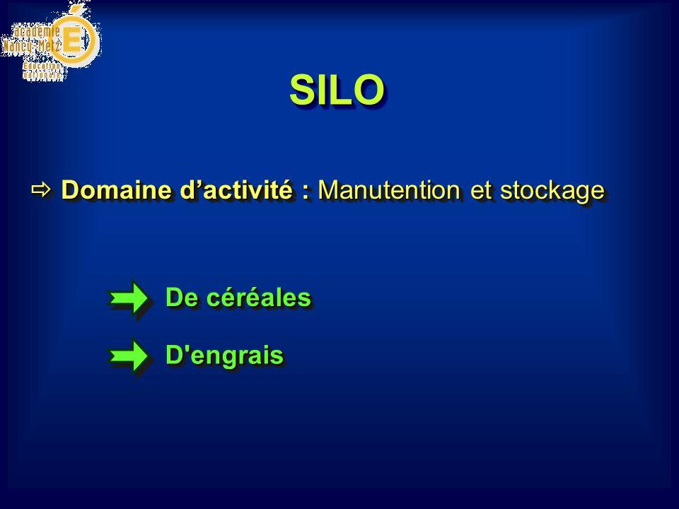 SILOSILO De céréales D engraisD engrais  Domaine d'activité : Manutention et stockage