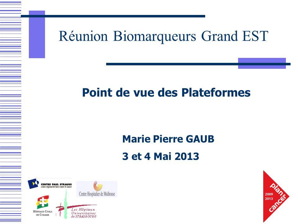 Marie Pierre GAUB 3 et 4 Mai 2013 Point de vue des Plateformes Réunion Biomarqueurs Grand EST