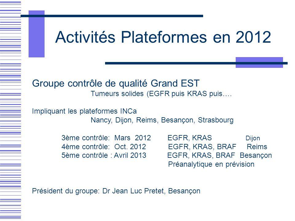 Activités Plateformes en 2012 Groupe contrôle de qualité Grand EST Tumeurs solides (EGFR puis KRAS puis…. Impliquant les plateformes INCa Nancy, Dijon