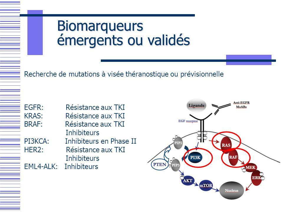 Biomarqueurs émergents ou validés EGFR: Résistance aux TKI KRAS: Résistance aux TKI BRAF: Résistance aux TKI Inhibiteurs PI3KCA: Inhibiteurs en Phase