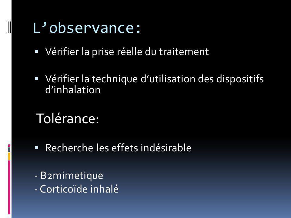 L'observance:  Vérifier la prise réelle du traitement  Vérifier la technique d'utilisation des dispositifs d'inhalation Tolérance:  Recherche les e