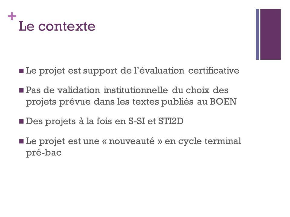 + Le contexte Le projet est support de l'évaluation certificative Pas de validation institutionnelle du choix des projets prévue dans les textes publiés au BOEN Des projets à la fois en S-SI et STI2D Le projet est une « nouveauté » en cycle terminal pré-bac