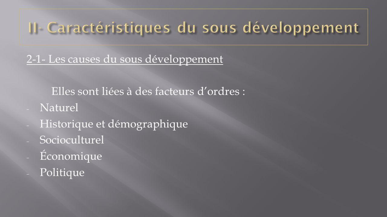  2-1-1- facteurs naturels  Le sous développement présente une grande complexité dans sa définition et ses causes sont multiples et diverses.
