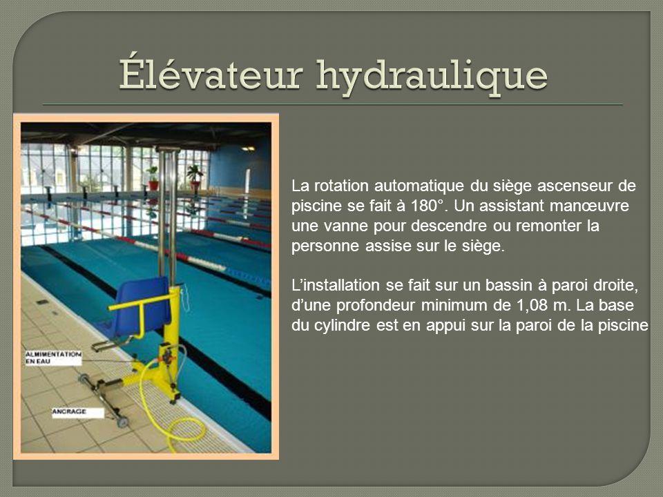 La rotation automatique du siège ascenseur de piscine se fait à 180°.