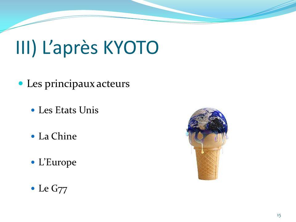 15 III) L'après KYOTO Les principaux acteurs Les Etats Unis La Chine L'Europe Le G77