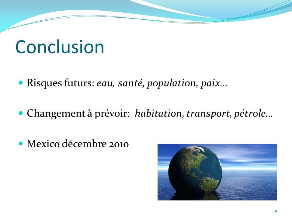 18 Conclusion Risques futurs: eau, santé, population, paix… Changement à prévoir: habitation, transport, pétrole… Mexico décembre 2010