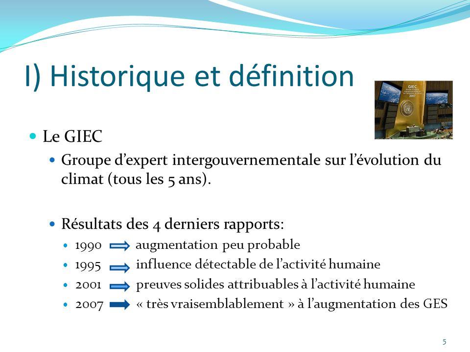 5 I) Historique et définition Le GIEC Groupe d'expert intergouvernementale sur l'évolution du climat (tous les 5 ans). Résultats des 4 derniers rappor