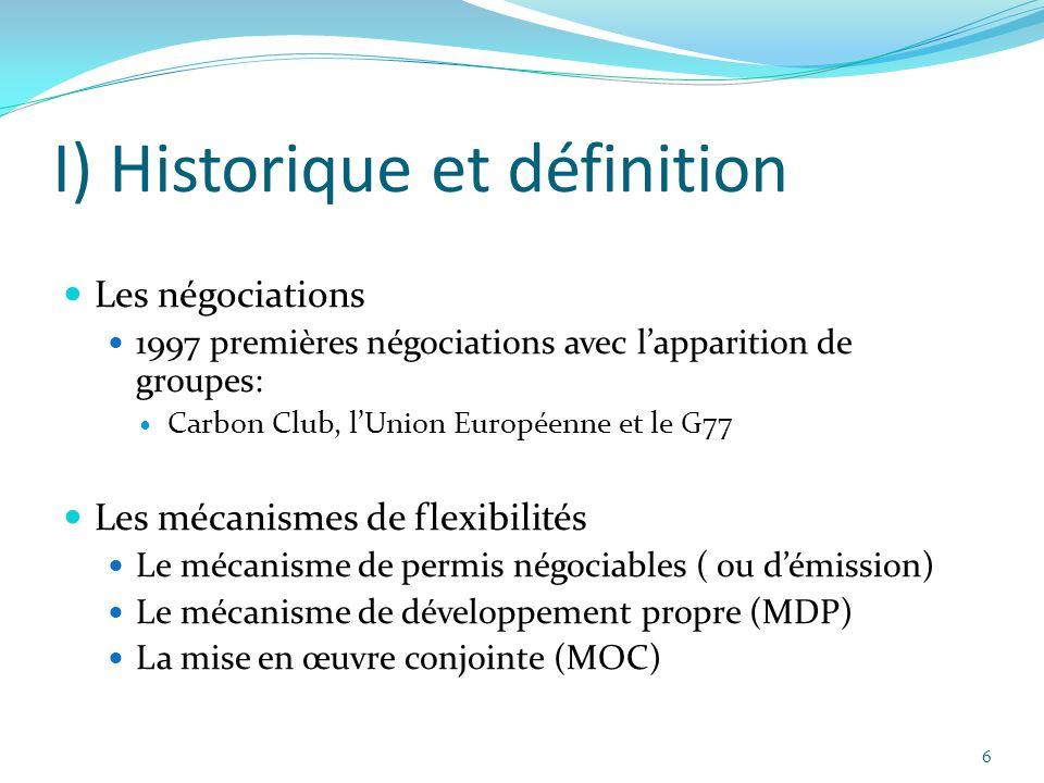 6 I) Historique et définition Les négociations 1997 premières négociations avec l'apparition de groupes: Carbon Club, l'Union Européenne et le G77 Les