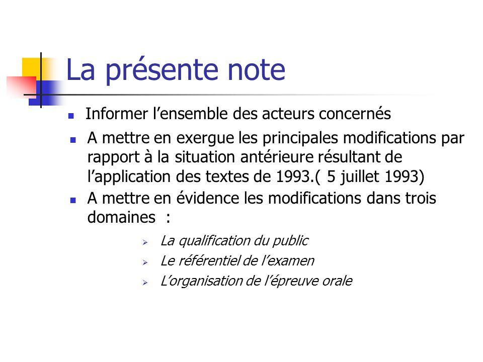 La présente note Informer l'ensemble des acteurs concernés A mettre en exergue les principales modifications par rapport à la situation antérieure rés