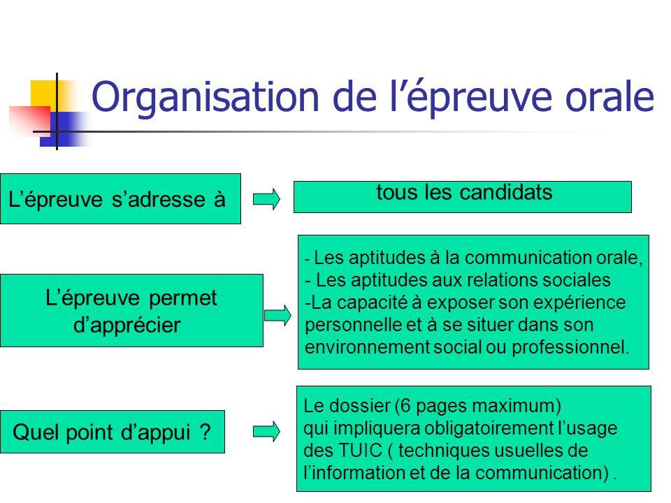 Organisation de l'épreuve orale L'épreuve s'adresse à tous les candidats L'épreuve permet d'apprécier - Les aptitudes à la communication orale, - Les