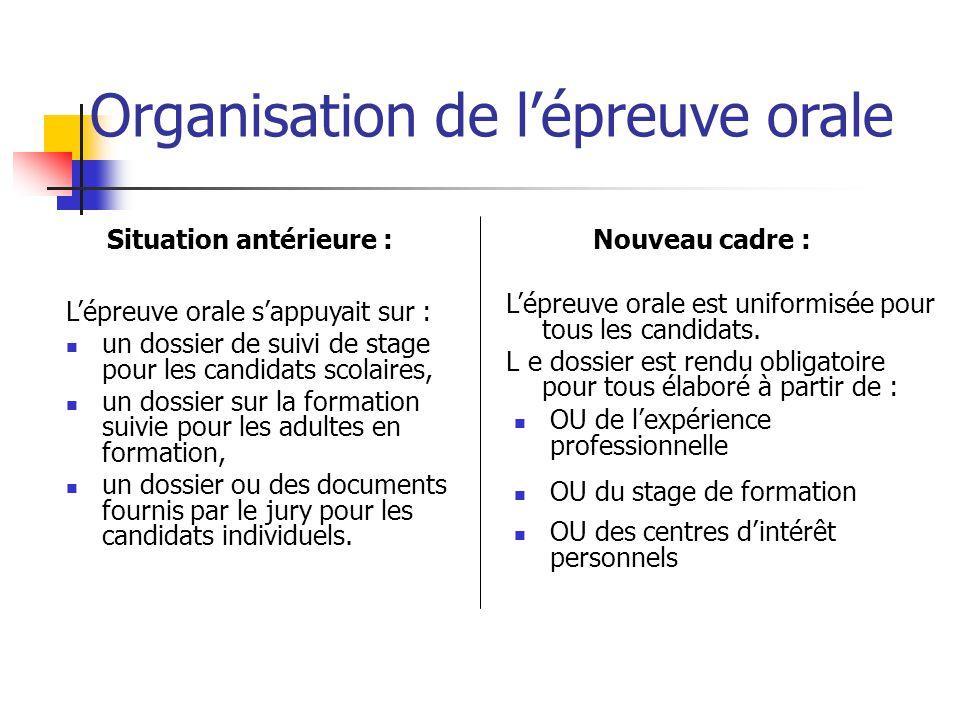 Organisation de l'épreuve orale L'épreuve orale est uniformisée pour tous les candidats. L e dossier est rendu obligatoire pour tous élaboré à partir