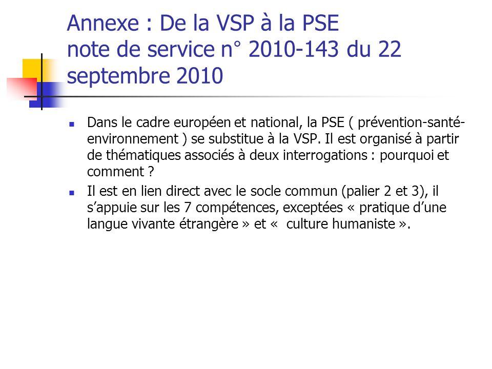 Annexe : De la VSP à la PSE note de service n° 2010-143 du 22 septembre 2010 Dans le cadre européen et national, la PSE ( prévention-santé- environnem