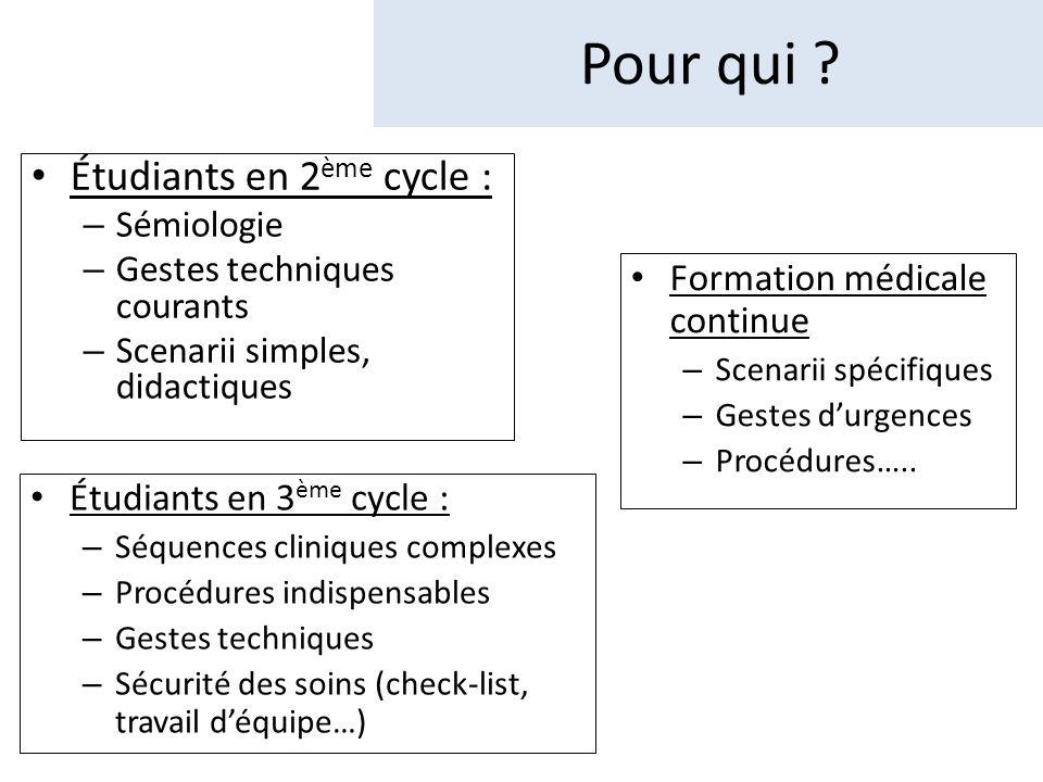 Étudiants en 2 ème cycle : – Sémiologie – Gestes techniques courants – Scenarii simples, didactiques Pour qui .