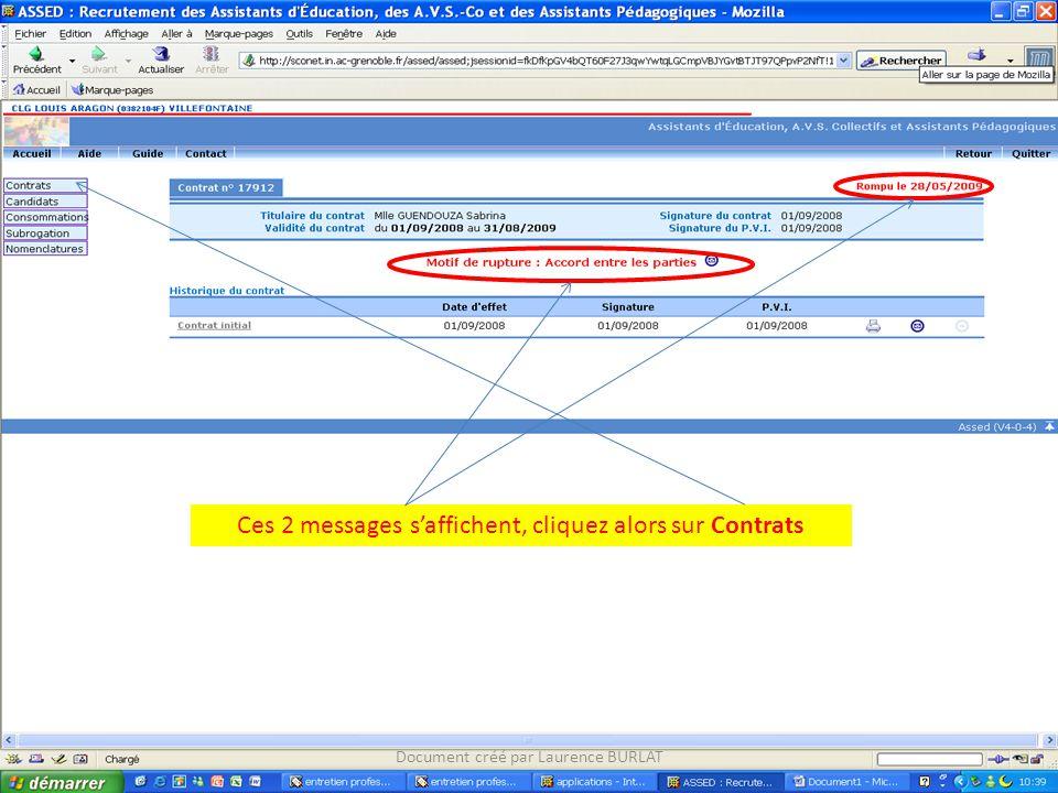 Document créé par Laurence BURLAT Ces 2 messages s'affichent, cliquez alors sur Contrats