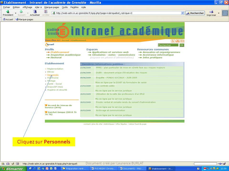 Cliquez sur Personnels Document créé par Laurence BURLAT
