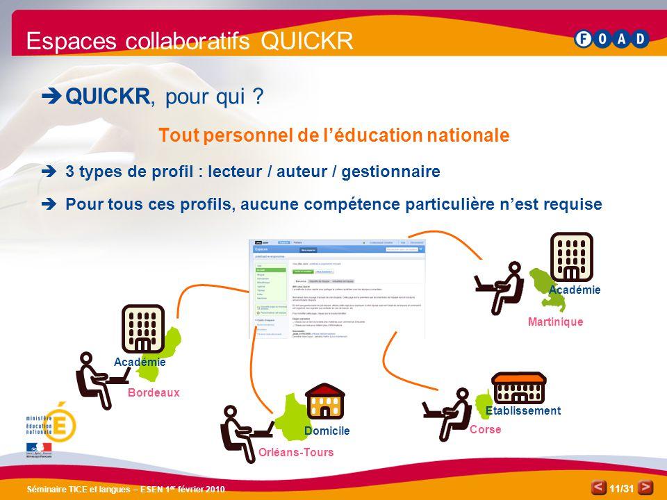 /31 Séminaire TICE et langues – ESEN 1 er février 2010 11 Espaces collaboratifs QUICKR  QUICKR, pour qui .