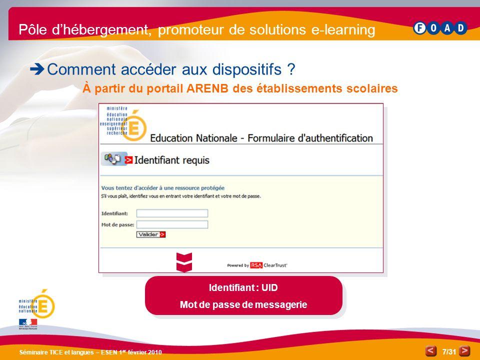 /31 Séminaire TICE et langues – ESEN 1 er février 2010 7 Pôle d'hébergement, promoteur de solutions e-learning  Comment accéder aux dispositifs .