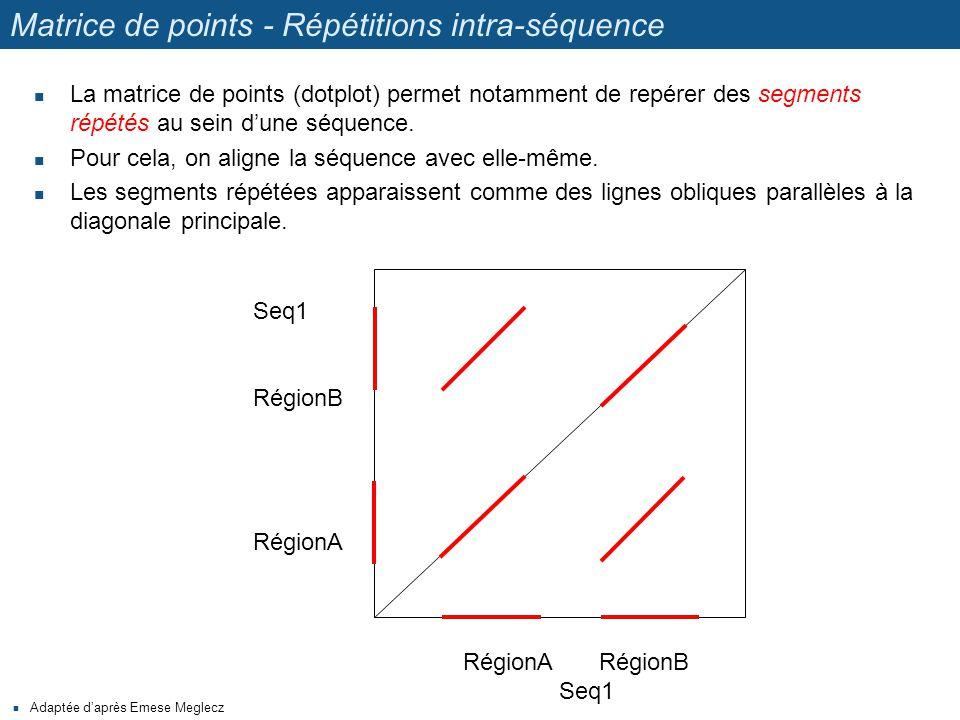 Matrice de points - Répétitions intra-séquence La matrice de points (dotplot) permet notamment de repérer des segments répétés au sein d'une séquence.