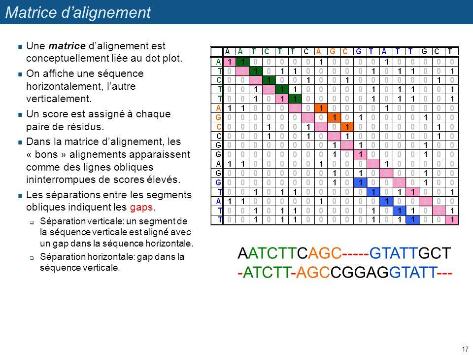 Matrice d'alignement Une matrice d'alignement est conceptuellement liée au dot plot. On affiche une séquence horizontalement, l'autre verticalement. U