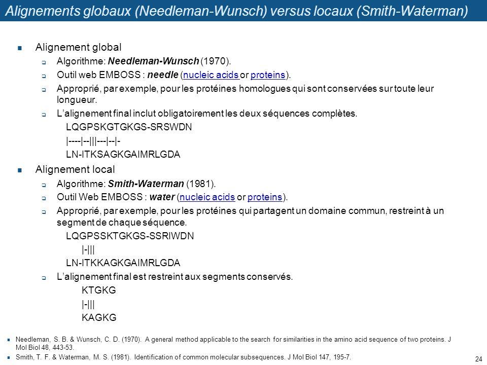 Alignements globaux (Needleman-Wunsch) versus locaux (Smith-Waterman) Alignement global  Algorithme: Needleman-Wunsch (1970).  Outil web EMBOSS : ne