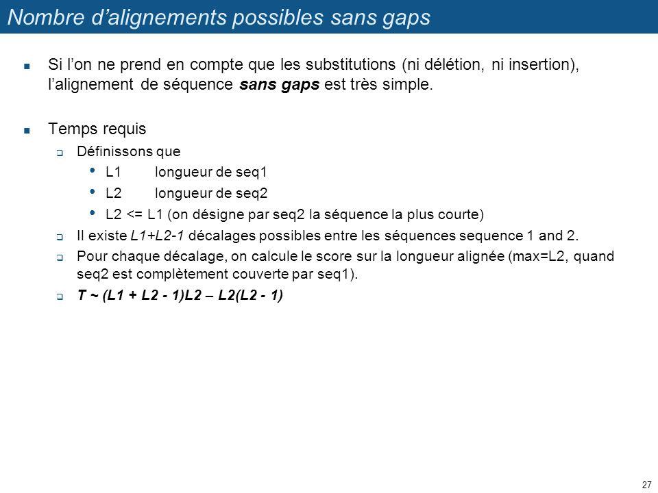 Nombre d'alignements possibles sans gaps Si l'on ne prend en compte que les substitutions (ni délétion, ni insertion), l'alignement de séquence sans g