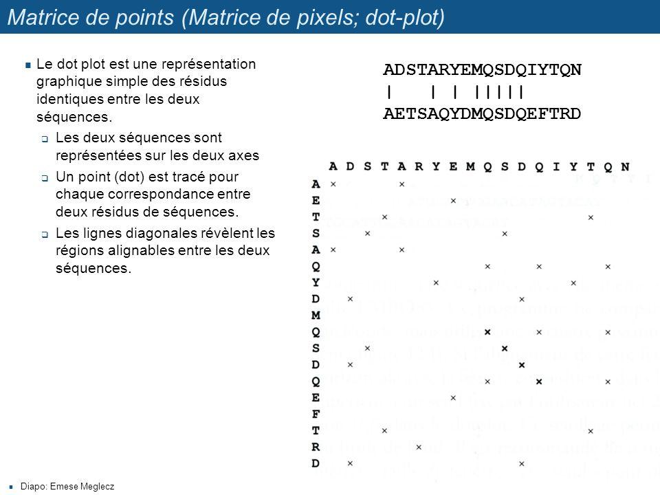Matrice de points (Matrice de pixels; dot-plot) Diapo: Emese Meglecz Le dot plot est une représentation graphique simple des résidus identiques entre