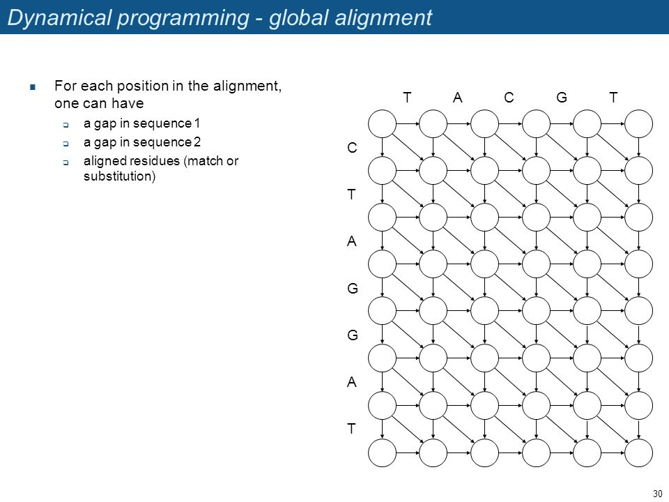 Dynamical programming - global alignment For each position in the alignment, one can have  a gap in sequence 1  a gap in sequence 2  aligned residu
