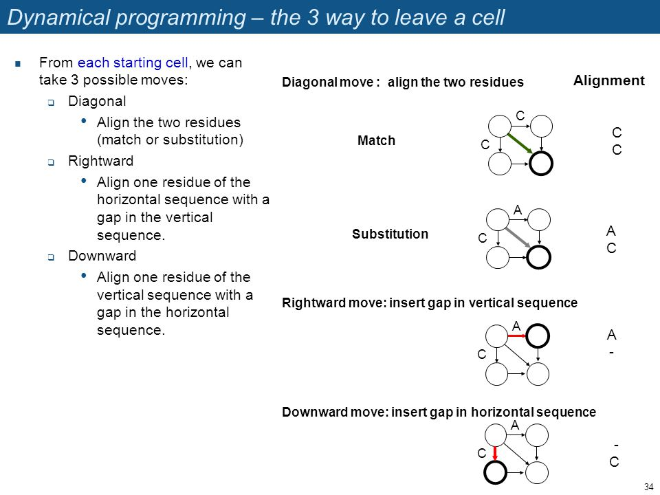 Dynamical programming – the 3 way to leave a cell From each starting cell, we can take 3 possible moves:  Diagonal Align the two residues (match or s