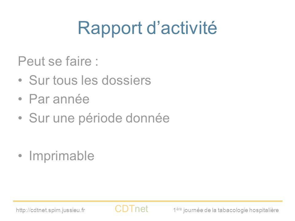 http://cdtnet.spim.jussieu.fr CDTnet 1 ère journée de la tabacologie hospitalière Rapport d'activité Peut se faire : Sur tous les dossiers Par année S