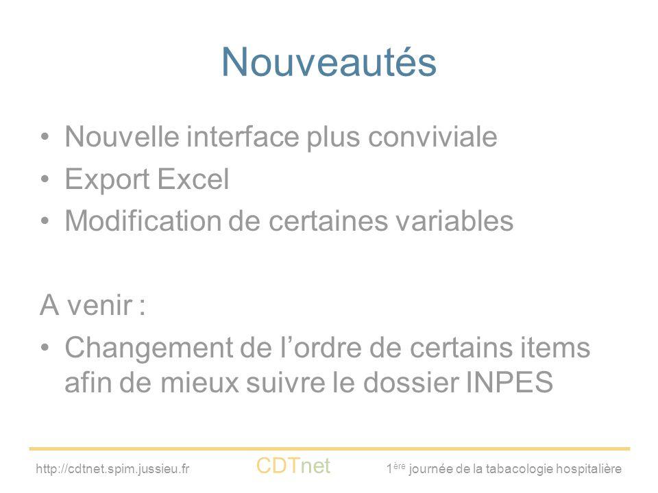 http://cdtnet.spim.jussieu.fr CDTnet 1 ère journée de la tabacologie hospitalière Nouveautés Nouvelle interface plus conviviale Export Excel Modificat