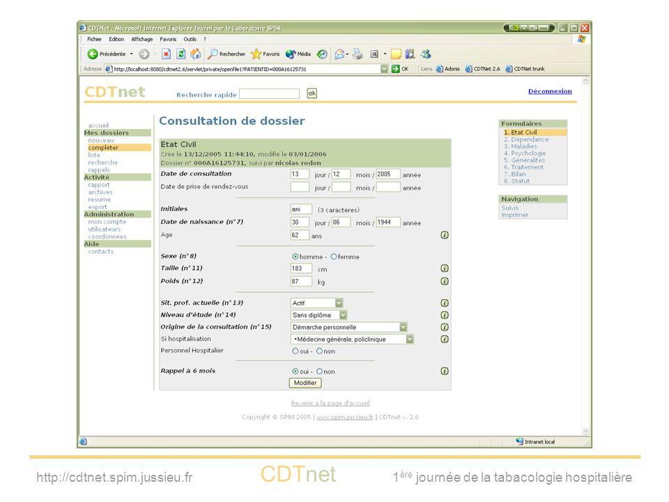 http://cdtnet.spim.jussieu.fr CDTnet 1 ère journée de la tabacologie hospitalière