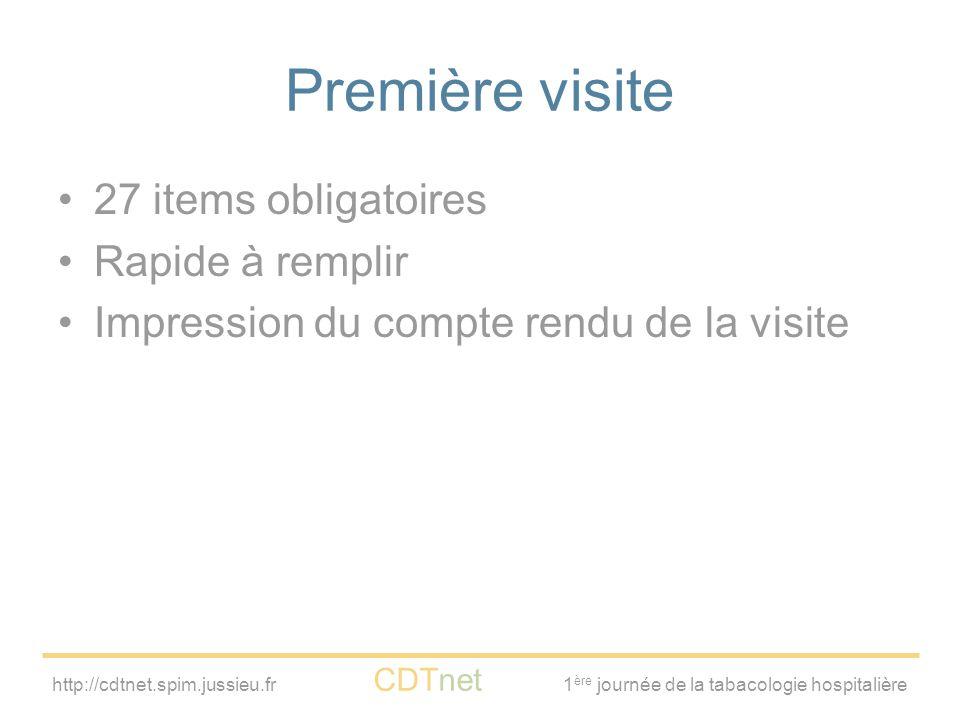 http://cdtnet.spim.jussieu.fr CDTnet 1 ère journée de la tabacologie hospitalière Première visite 27 items obligatoires Rapide à remplir Impression du