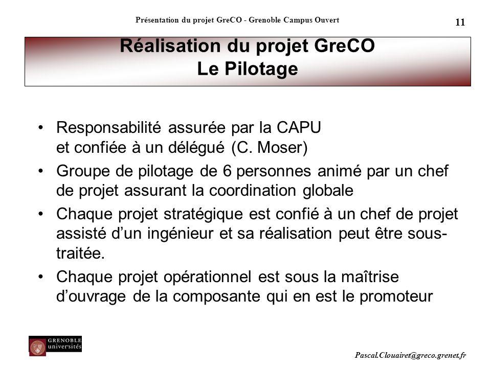 Pascal.Clouairet@greco.grenet.fr Présentation du projet GreCO - Grenoble Campus Ouvert 11 Réalisation du projet GreCO Le Pilotage Responsabilité assur