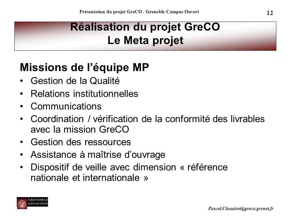 Pascal.Clouairet@greco.grenet.fr Présentation du projet GreCO - Grenoble Campus Ouvert 12 Réalisation du projet GreCO Le Meta projet Missions de l'équ