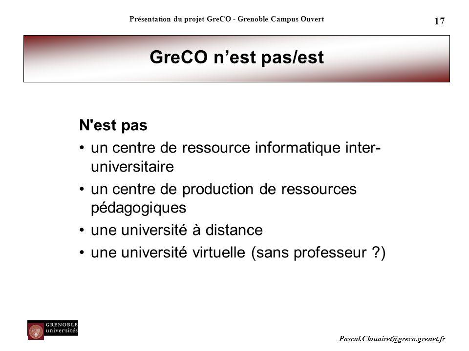 Pascal.Clouairet@greco.grenet.fr Présentation du projet GreCO - Grenoble Campus Ouvert 17 GreCO n'est pas/est N'est pas un centre de ressource informa