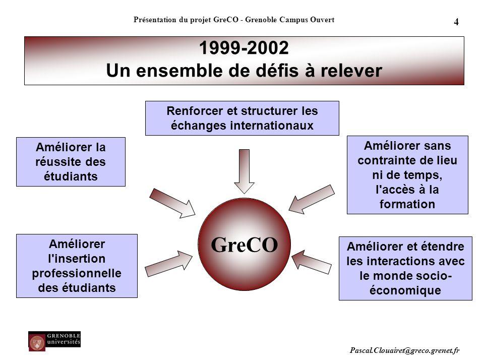 Pascal.Clouairet@greco.grenet.fr Présentation du projet GreCO - Grenoble Campus Ouvert 4 GreCO 1999-2002 Un ensemble de défis à relever Améliorer la r